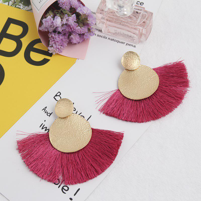 Ethnic Style Earrings Round Fan-Shaped Large Tassel Earrings - ROSE RED 1 PAIR
