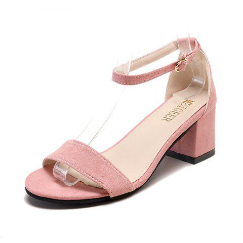 New Fashionable Sandals With One Word Button And Open Toe - PINK EU 33