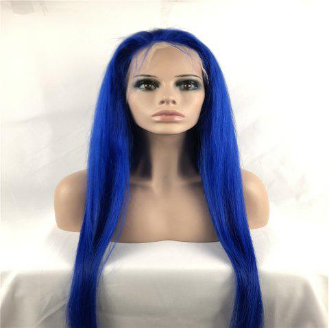 Full Lace Wigs Blue Color Silky Straight Brazilian Virgin Human Hai - BLUE 28 INCH
