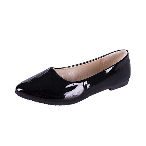 Spring New Pointed Shallow Mouth Flat Bottom Bean Shoes - BLACK EU 41