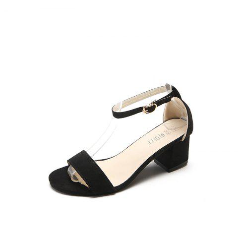 Summer'S New Open-Toed Sandals with Thick Heels - BLACK EU 40