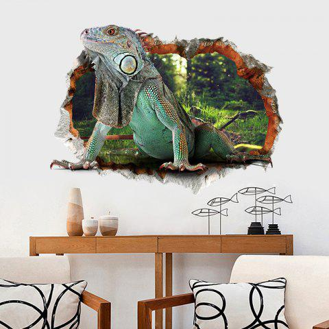 3D Lizard Three-Dimensional Waterproof Wall Sticker Removable PVC - multicolor 2PCS