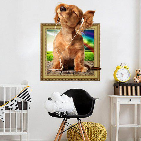 3D Simulation Cute Bedroom Animal Children'S Room Dog Wall Sticker - multicolor 2PCS