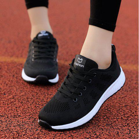Women Casual Shoes Fashion Breathable Walking Mesh Lace Up Flat Shoes Sneakers - BLACK EU 39