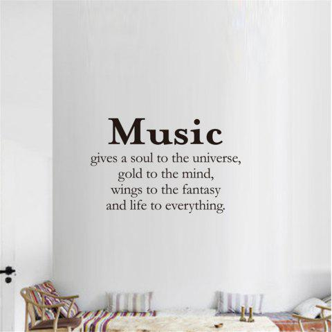 Music Gives A Soul To The Universe Art Apothegm Home Decal Wall Sticker - BLACK 38*57CM