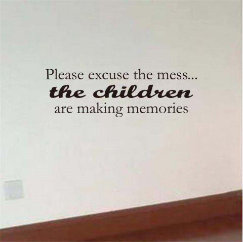 Please Excuse The Mess Art Apothegm Home Decal Wall Sticker - BLACK 18.5*57CM
