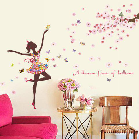 Flower Fairy Removable Waterproof PVC Wall Sticker for Home - multicolor 24 X 36 INCH