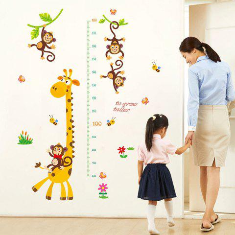 A Giraffe Measures Your Height Removable Waterproof PVC Wall Sticker for Home - multicolor 24 X 36 INCH