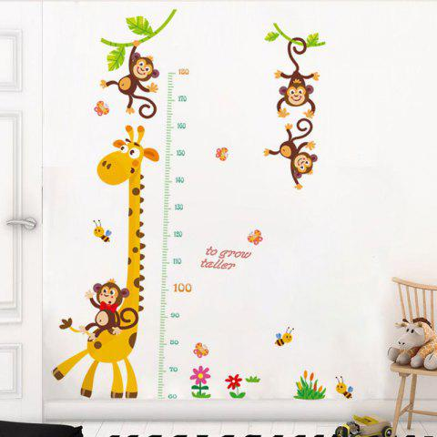 Giraffe Measures Your Height Removable Waterproof PVC Wall Stickers for Home - multicolor (70X25)CMX2