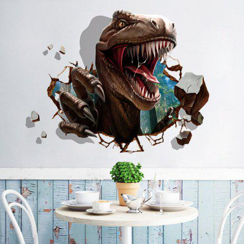 3D Dinosaur Removable Waterproof PVC Wall Sticker for Home - multicolor 24 X 36 INCH
