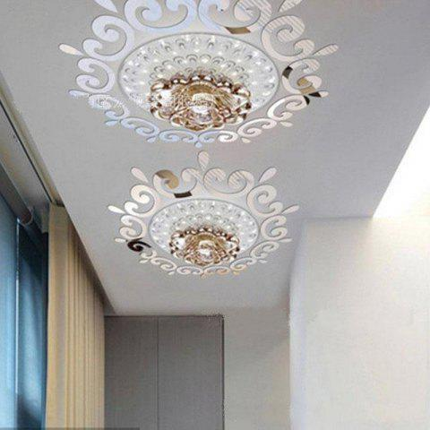 The Three dimensional Lighting Mirror Wallpaper Restaurant Wall Stickers - SILVER
