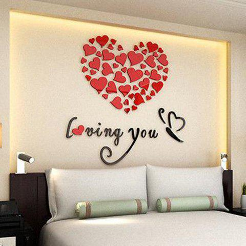 Lovely Mirror Hearts Home 3d Wall Stickers Decor Diy Decal Removable - RED