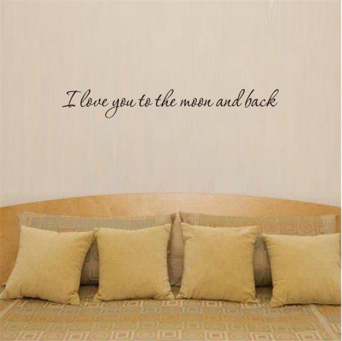 I Love You To The Moon and Back Art Apothegm Home Decal Wall Sticker - BLACK 8*57CM