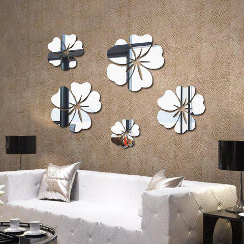5 Pieces Home Background Decoration Petals Style Acrylic Mirror Wall Stick - SILVER 50*30*0.2CM