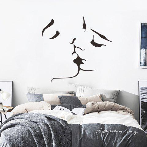 Lovers Men and Women Kissing Living Room Bedroom Decorative Stickers - BLACK 1PC