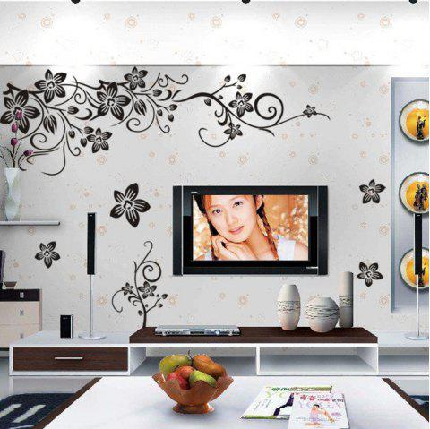 Black Butterfly Diagonal Flower Vine TV Background Wall Sticker - BLACK 1PC