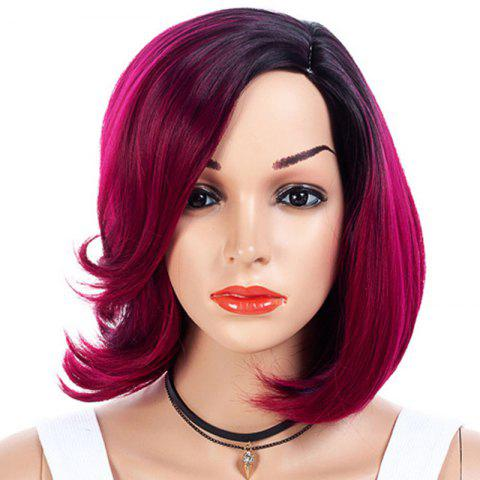 Gradient Ramp Partial Distribution Type Bob Wig - ROSE RED 16INCH
