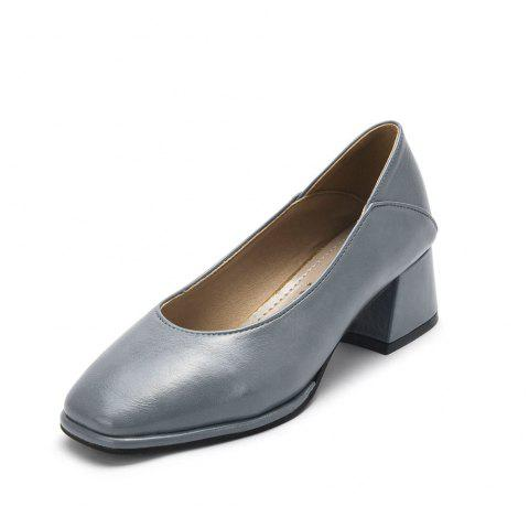 Middle Heel Thick Bean Shoe Fashion Single Shoe Girl - GRAY EU 38