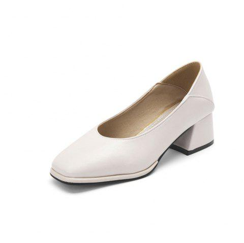Middle Heel Thick Bean Shoe Fashion Single Shoe Girl - BEIGE EU 39