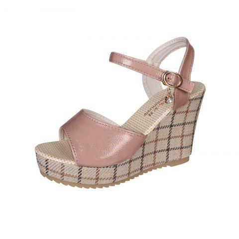 Slope and Ultra High Heels Fashion Girl Sandals - PINK EU 40