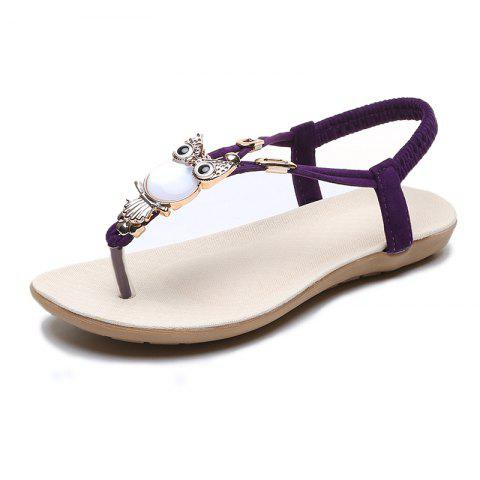 FlatBottomed Beach Shoes SlipProof Casual Toe Sandals For Women - PURPLE EU 40