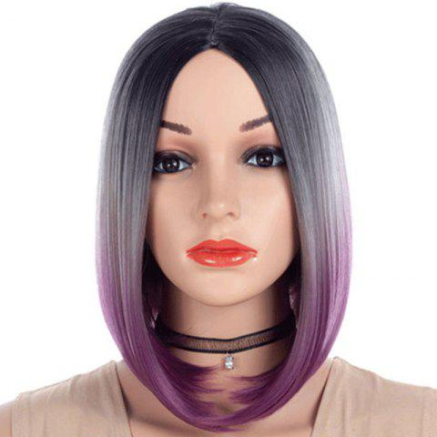 Central Parting Hair Style Gradient Ramp Bob Haircut Wig - DARK ORCHID 14INCH