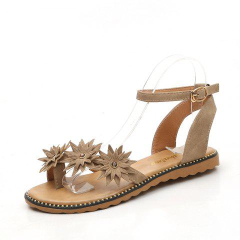Flat Bottom Fashion Star Girl Sandals D258 - BEIGE EU 36