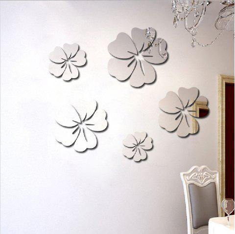 Hibiscus Flower Petals Crystal Acrylic Mirror Wall Stickers - SILVER