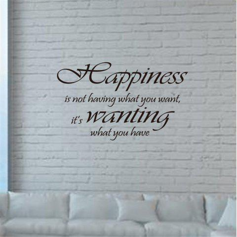 Happiness Is Wanting What You Have Art Apothegm Home Decal Wall Sticker - BLACK 34*57CM