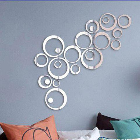 Crystal Acrylic Mirror Circle Wall Stickers Living Room Decoration - NATURAL WHITE