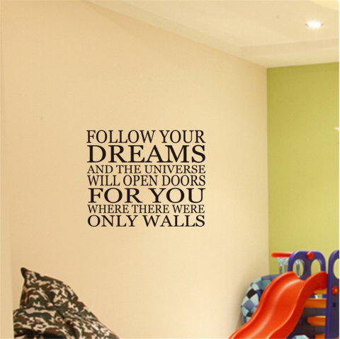Follow Your Dreams Art Apothegm Home Decal Wall Sticker - BLACK 46.5*57CM