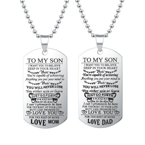 To My Son Daughter I Want You To Believe Love Dad Mom Lettering Hang Necklace - SILVER TO MY SON -LOVE MOM
