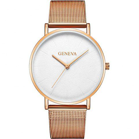 Ladies Gold Watch Women  Brand Steel Mesh Simple  Women Quartz Watch - multicolor C