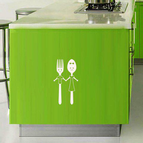Home Art Decoration Cute Knife And Fork Removable Wall Sticker - WHITE 20X11CM