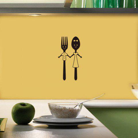 Home Art Decoration Cute Knife And Fork Removable Wall Sticker - BLACK 20X11CM