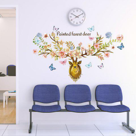 Painted Style Forest Deer Home Background Wall Decoration Wall Sticker Removable - multicolor A 60*90CM