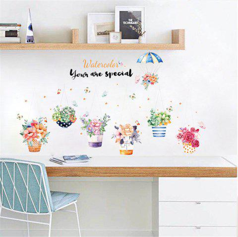 Hand-Painted Style Potted Flowers Removable Stickers for Wall Decoration in Home - multicolor A 60*90CM