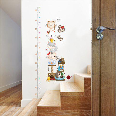 Lovely Cats Measure Height Gauge Sticker Removable Stickers for Wall Decoration - multicolor A 60*90CM