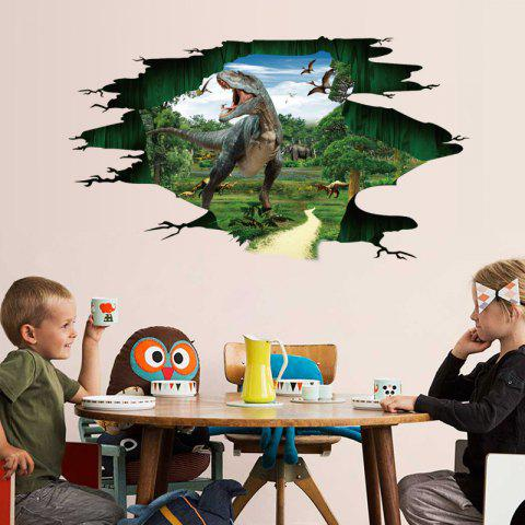 3D Dinosaur Paradise Kindergarten Wall Sticker PVC Removable - multicolor 1PC