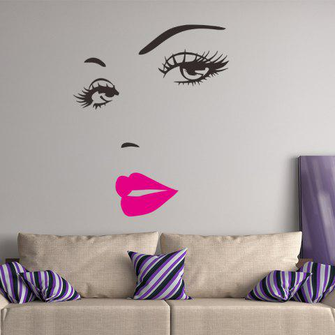 Sexy Eyelashes Goddess Living Room Bedroom Background Foreign Trade Wall Sticker - multicolor B 1PC