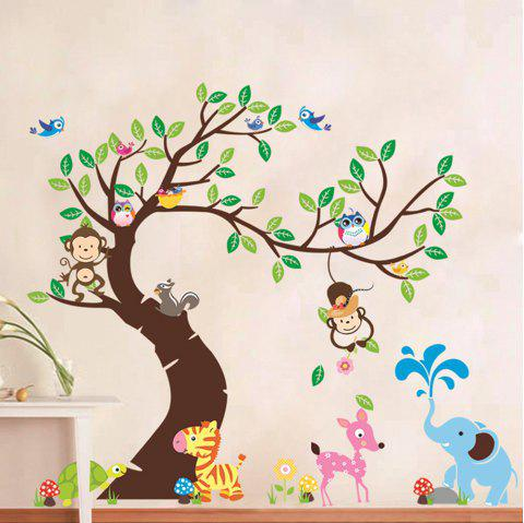 Kindergarten Childrens Room Owl Monkey Paradise Background Wall Stickers - multicolor 1 PAIR