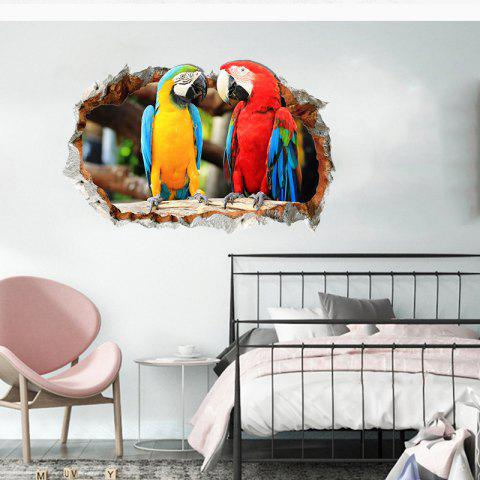 3D Stereo Wall Sticker Parrot Love Home Decoration Background Wall Sticker - multicolor 1PC