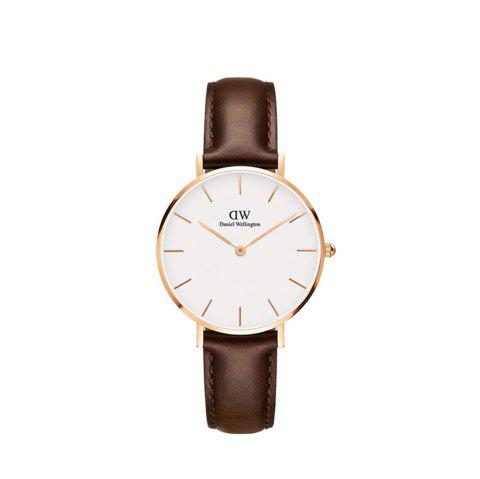 DW Female Watch 32mm Gold Side White Plate Belt Ladies Watch Student Watch - WHITE