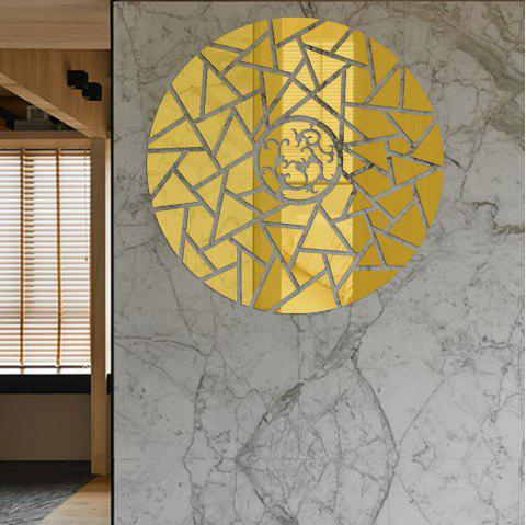 Geometric Lines Round Acrylic Mirror Wall Stickers Three-Dimensional - GOLD