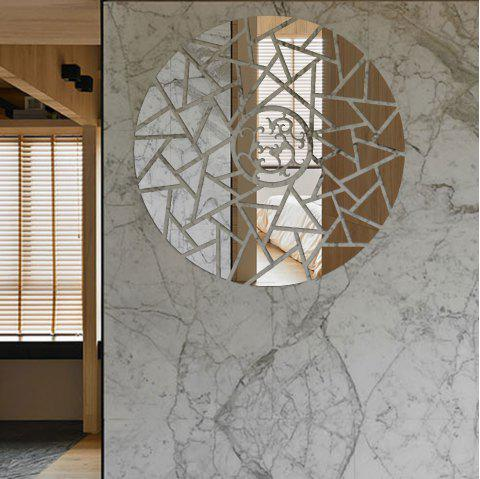 Geometric Lines Round Acrylic Mirror Wall Stickers Three-Dimensional - SILVER