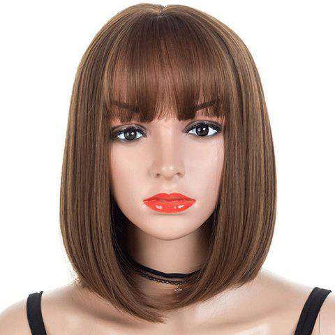 Neat Fringe Slim Face Central Parting Hair Style Bob Wig - BROWN 14INCH