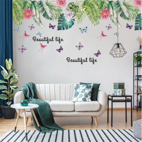 Simple Nordic Style Cartoon Colored Palm Leaf Butterfly Home Wall Sticker - multicolor A 60*90CM*2PCS