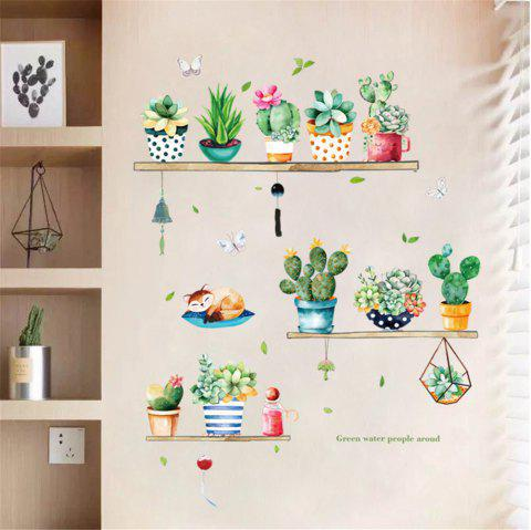 Green Potted Plant Cactus Sticker Paper Decorative Wall Sticker for Home Wall - multicolor A 50*70CM