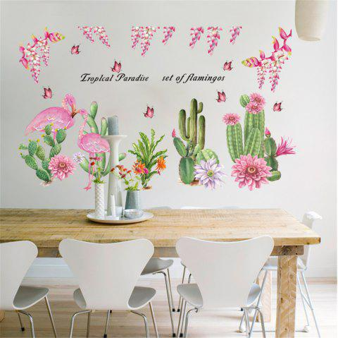 Pink Flamingo Cactus Vegetable Wall Sticker for Home Decoration - multicolor A 60*90CM