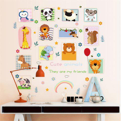 Cartoon Animal Monkey Tiger Stamp-Like Photo Frame Sticker Background Wall - multicolor A 60*90CM